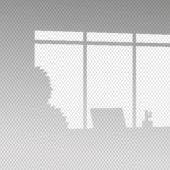 Efecto de superposición de sombras transparentes con plantas y computadora portátil