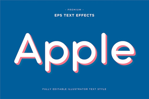 Efecto de texto 3d de apple