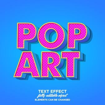 Efecto de texto en 3d del arte pop