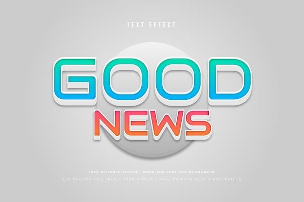 Efecto de texto 3d de buenas noticias sobre fondo gris