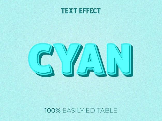 Efecto de texto 3d cian