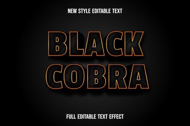 Efecto de texto 3d color cobra negro degradado negro y dorado