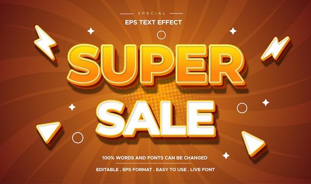 Efecto de texto 3d concepto de etiqueta editable super venta texto editable