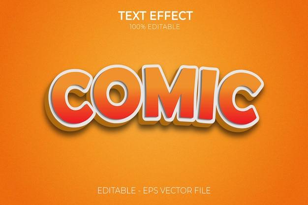 Efecto de texto 3d creativo cómico estilo de texto en negrita editable vector premium