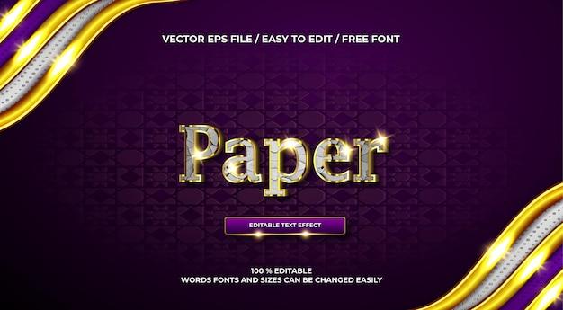 Efecto de texto 3d cromado de papel de lujo