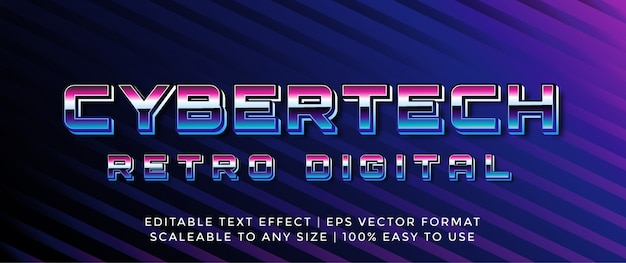 Efecto de texto 3d digital cibernético retro