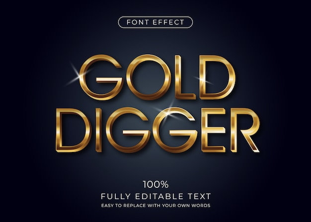 Efecto de texto 3d dorado, estilo de fuente