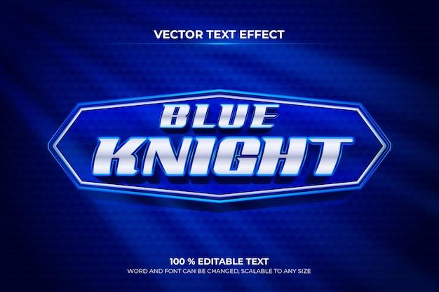 Efecto de texto 3d editable de caballero azul con estilo de fondo de patrón