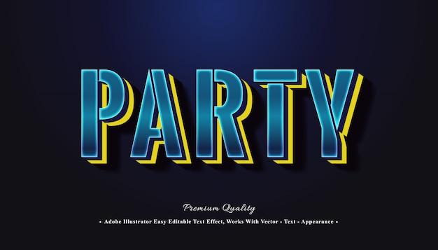 Efecto de texto 3d editable de fiesta