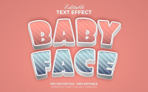 Efecto de texto 3d estilo de cara de bebé. tema de dibujos animados de efecto de texto editable.