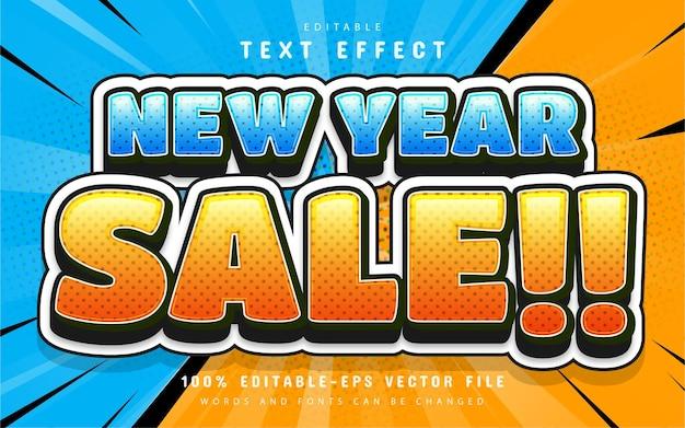 Efecto de texto 3d de estilo cómico de venta de año nuevo