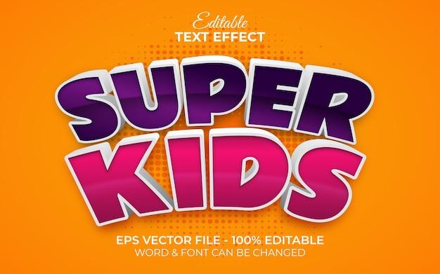 Efecto de texto 3d estilo super kids. tema de dibujos animados de efecto de texto editable.