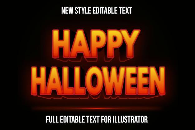 Efecto de texto 3d feliz halloween color naranja y negro degradado