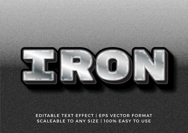 Efecto de texto 3d de metal de hierro brillante