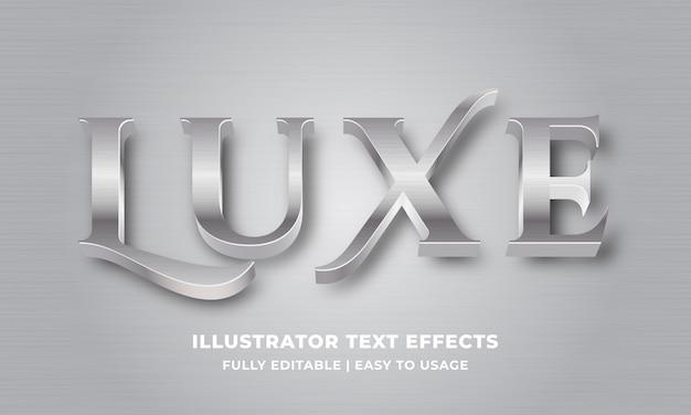 Efecto de texto 3d metálico plateado de lujo