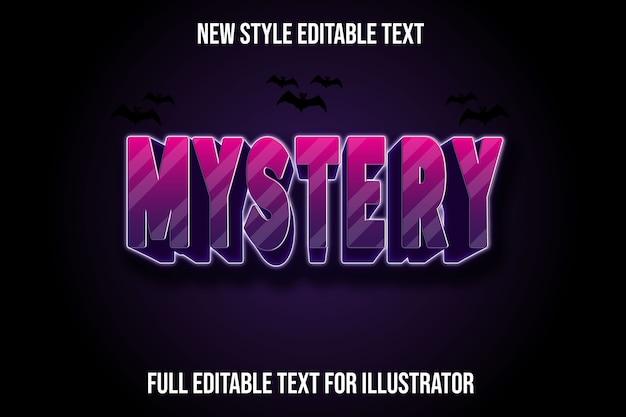 Efecto de texto 3d misterio color degradado rosa y morado