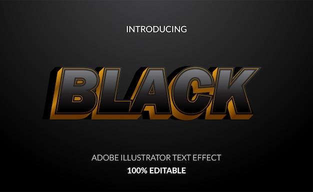 Efecto de texto 3d negro con color dorado para el cartel de viernes negro y título de venta.