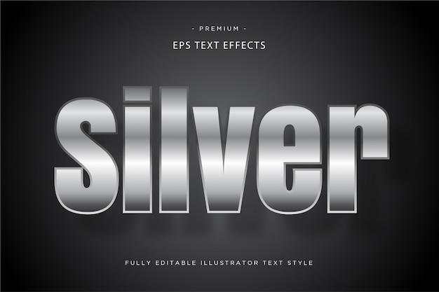Efecto de texto 3d plateado - estilo de texto 3d