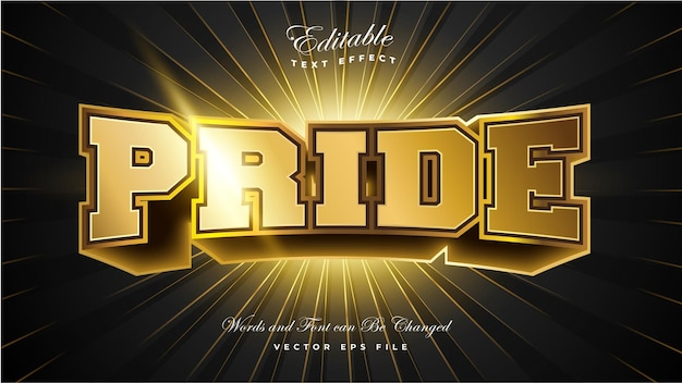 Efecto de texto 3d pride gold