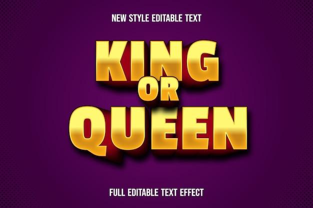 Efecto de texto 3d rey o reina color amarillo y rojo degradado