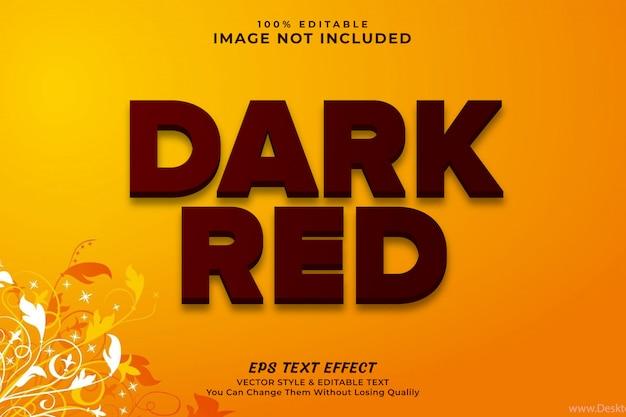 Efecto de texto 3d rojo oscuro