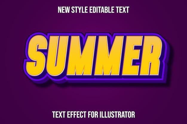 Efecto de texto 3d verano color amarillo y morado degradado