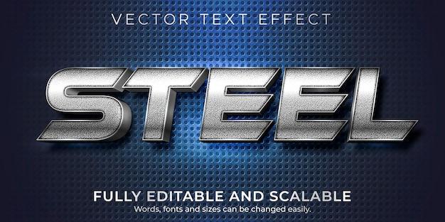 Efecto de texto de acero metálico editable estilo de texto brillante y elegante