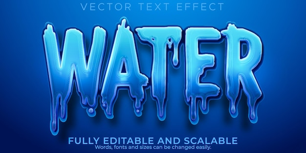 Efecto de texto de agua aguamarina, estilo de texto azul y líquido editable