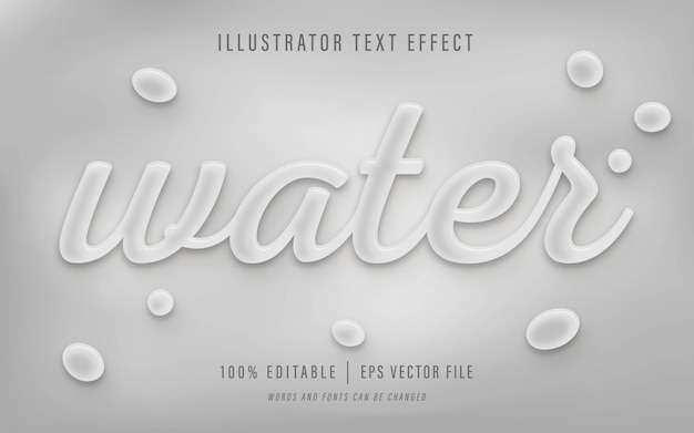 Efecto de texto de agua - efecto de texto editable