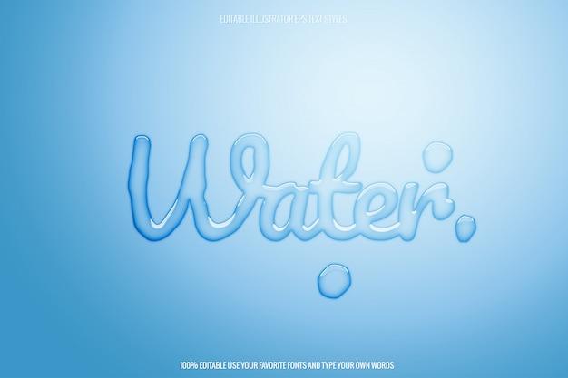 Efecto de texto de agua transparente editable