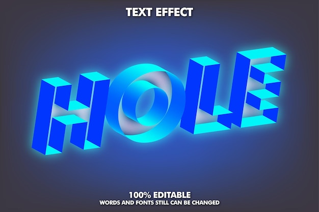 Efecto de texto de agujero con efecto de texto editable de luz azul