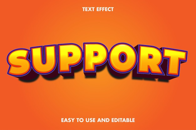 Efecto de texto de apoyo. fácil de usar y editable.