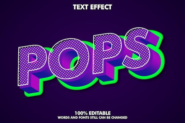 Efecto de texto de arte pop 3d con textura rica