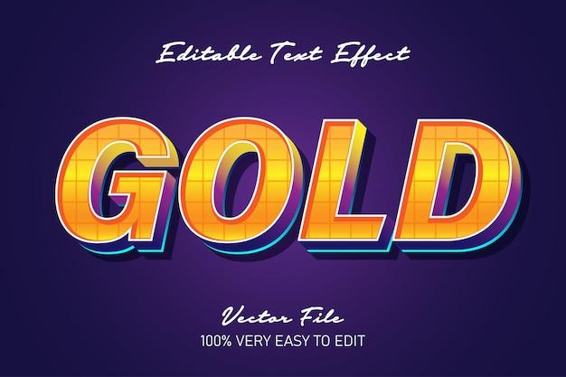 Efecto de texto de arte pop fuerte 3d dorado