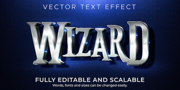Efecto de texto asistente, estilo de texto brillante y metálico editable