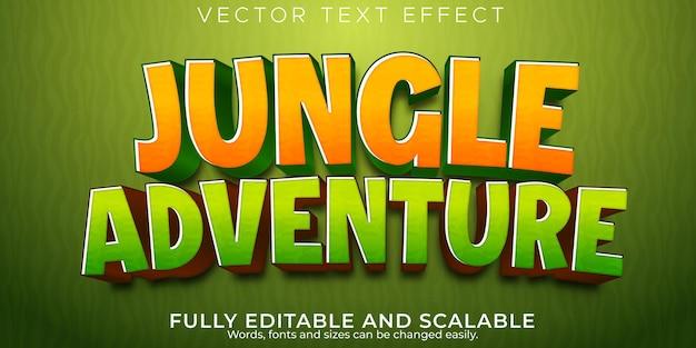 Efecto de texto de aventura en la jungla estilo de texto cómico y dibujos animados editables