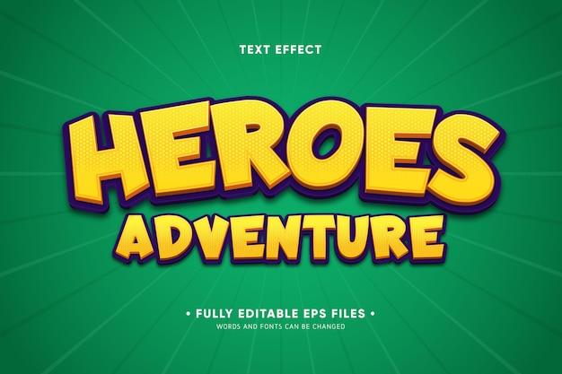 Efecto de texto de aventuras de héroes