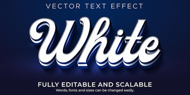 Efecto de texto azul blanco, prestigio editable y estilo de texto de marca