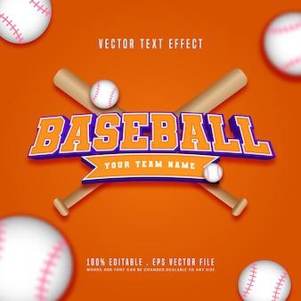 Efecto de texto de béisbol editable