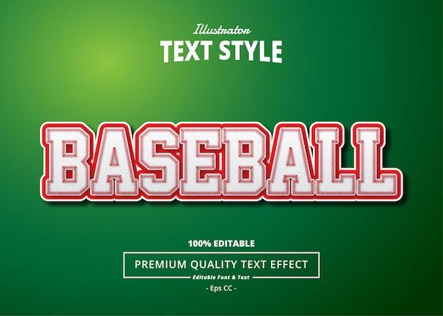 Efecto de texto de béisbol illustrator