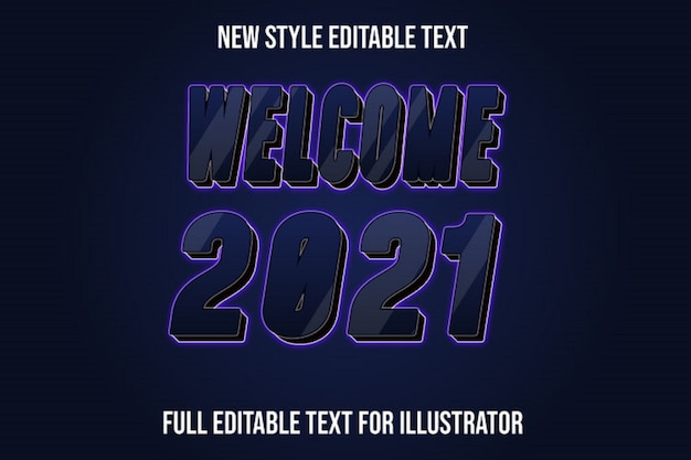 Efecto de texto bienvenido año nuevo color azul oscuro y negro degradado