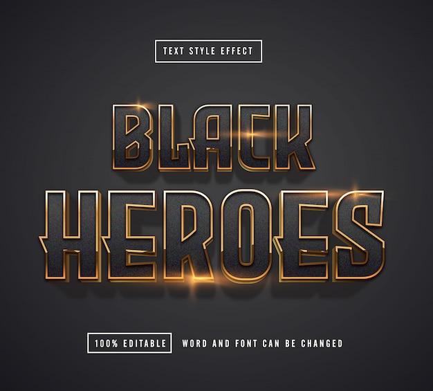 Efecto de texto black heroes editable