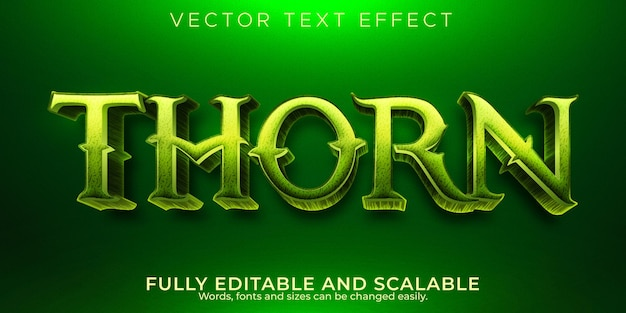 Efecto de texto de bosque de espinas, estilo de texto natural y verde editable