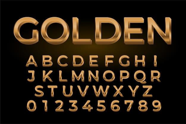 Efecto de texto brillante dorado premium conjunto de alfabetos y números