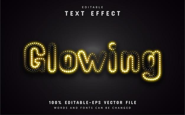 Efecto de texto brillante neón amarillo