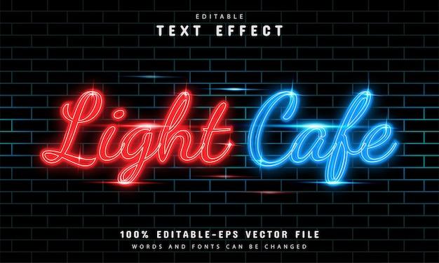 Efecto de texto de café ligero estilo neón