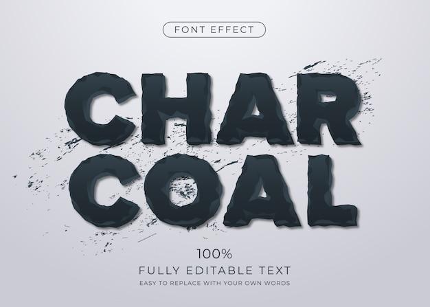 Efecto de texto de carbón erosionado. estilo de fuente editable