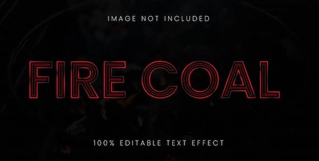 Efecto de texto de carbón de fuego