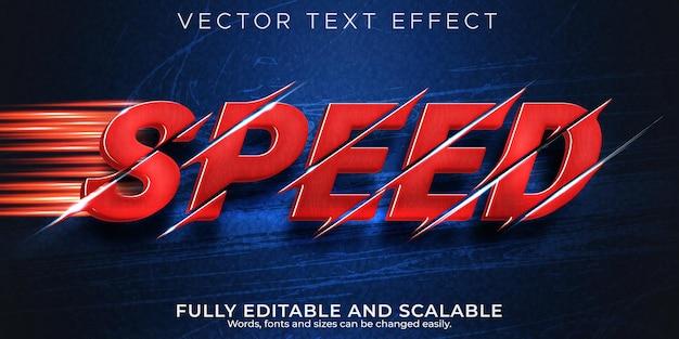 Efecto de texto de carrera de velocidad, estilo de texto editable rápido y deportivo Vector Premium