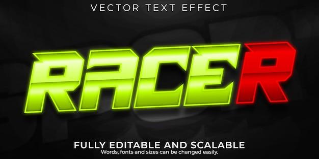Efecto de texto de carrera de velocidad, estilo de texto editable rápido y deportivo